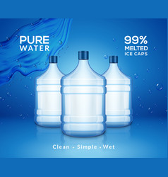 water bottle mineral background plastic water vector image