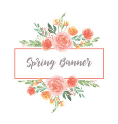 Watercolor florals hand painted with text banner vector