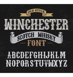 Winchester label font whit decoration design old vector