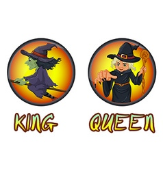 Witches on round badges vector image