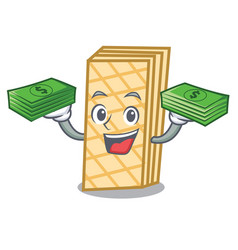 With money bag waffle mascot cartoon style vector