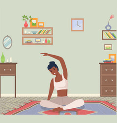 Woman doing yoga exercise young dark skinned fit vector