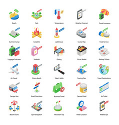 World tour accessories isometric icons pack vector