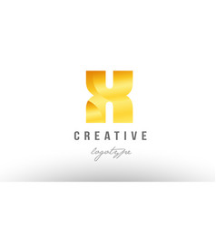 X gold golden metal gradient alphabet letter logo vector