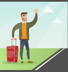 Young caucasian with suitcase hitchhiking vector