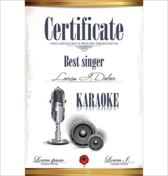 Karaoke certificate template vector image vector image
