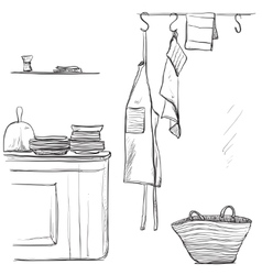 Textiles apron Hand drawn kitchen interior vector image