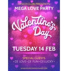 Valentines day poster template with blurred hearts vector