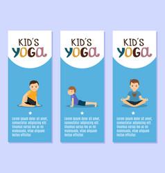 yoga kids flyers design with boys vector image