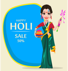 beautiful indian woman holding pot with colored vector image vector image