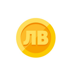 bulgarian lev currency symbol on gold coin flat vector image vector image