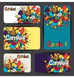 Carnival show cards with doodle icons and objects vector image