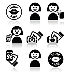Duck face girl taking selfie with smartphone icon vector image vector image
