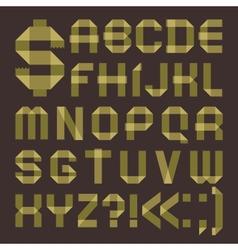 Font from greenish scotch tape - Roman alphabet vector image