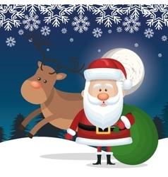 santa claus and bag gift reindeer landscape vector image vector image