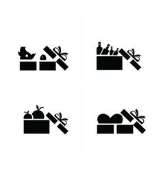 set black gift icons open food gift box vector image