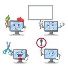 Set of monitor character with artist bring board vector
