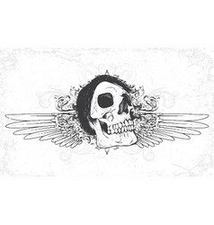 skull with grunge and wings vector image vector image