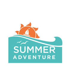 summer holidays logo with ship and seagulls vector image