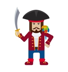 Pirate captain with parrot cartoon flat vector image