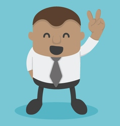Young African businessman shows Victory Sign vector image vector image
