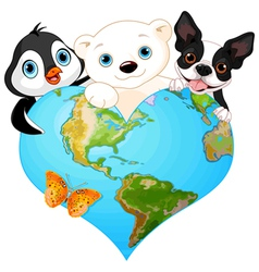 Earth heart with animals vector image vector image