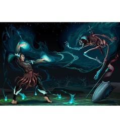 Fighting scene between magician and skeleton vector image vector image