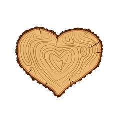 heart wood i love tree like firewood vector image vector image