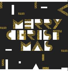 Merry Christmas Postcard Golden Gold Geometric vector image