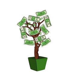 money tree with 100 dollars currency on the plant vector image