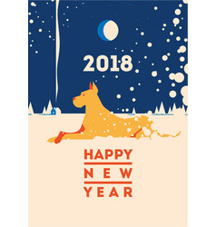 2018 happy new year of the dog greeting card vector image