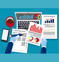 analyst business auditor working on statistical vector image