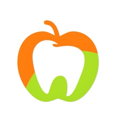 apple fruit tooth dentist logo vector image