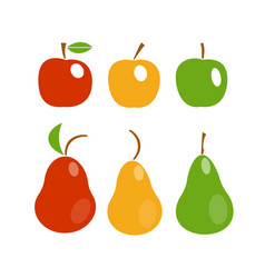 apples and pears icon set vector image