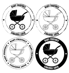 Baby friendly stamps black and white vector