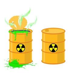 Barrel of acid open drums with dangerous gr vector