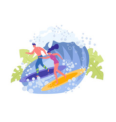 Beautiful sportive guy and girl surfers on wave vector
