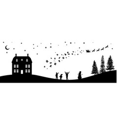 Black christmas panorama silhouettes of kids vector