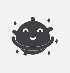 Black icon on white background smiling satellite vector