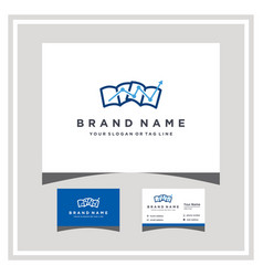 Book finance logo design and business card vector