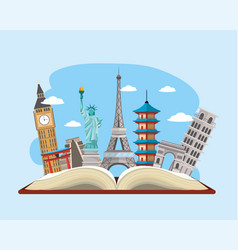 Book with international travel place destination vector