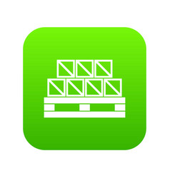 boxes goods icon digital green vector image