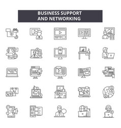 business support and networking line icons signs vector image