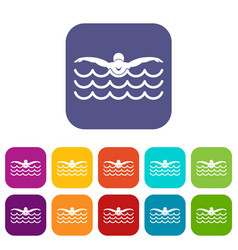 Butterfly swimmer icons set vector