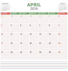 Calendar Planner 2016 Flat Design Template April vector
