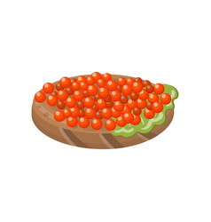 canape with salmon red caviar cartoon vector image