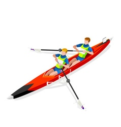 Canoe Coxless Pair 2016 Sports 3D vector