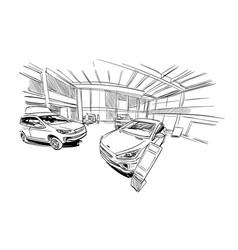 car showroom exterior design sketch hand drawn vector image