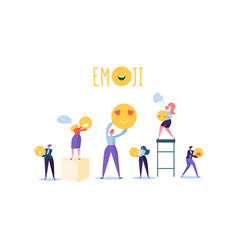characters people holding various emoticons emoji vector image