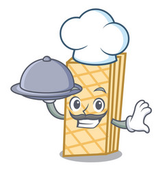 Chef with food waffle mascot cartoon style vector